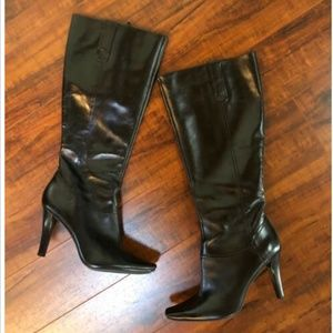 BLACK sz 8 Leather High Heeled Riding Boots